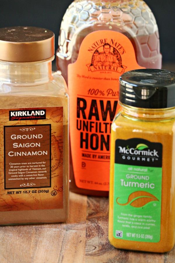 ingredients for turmeric golden milk recipe
