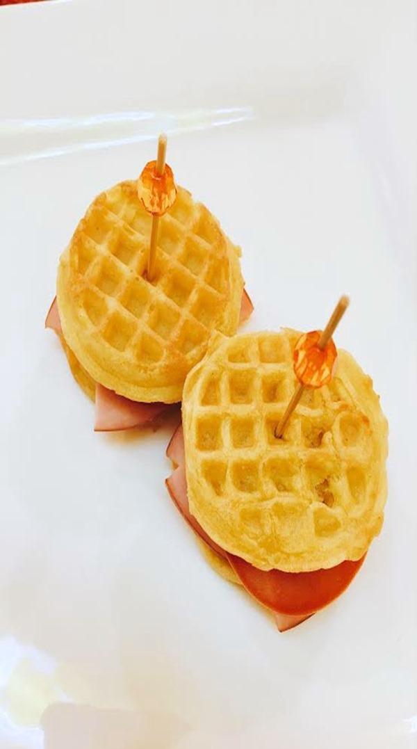 Eggo waffles ham and cheese sandwiches