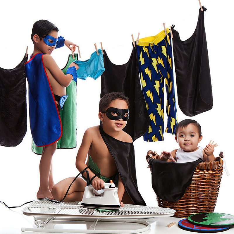 young children doing chores