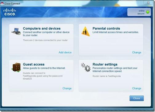 linksy E4200 Dashboard Screenshot