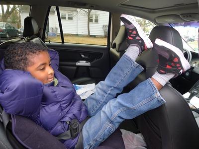 Z.E.N. loves hi new pair of boys sneakers - Nike Kids running shoes