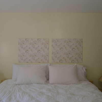 completed faux headboard art project