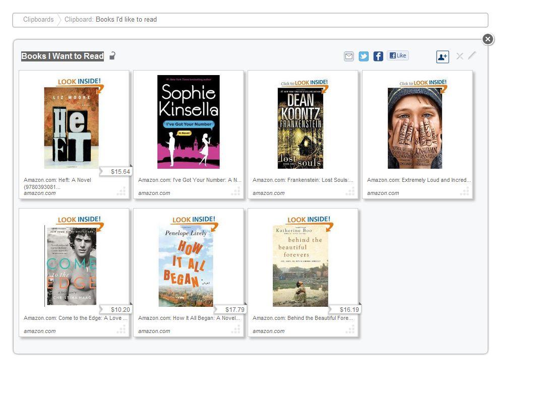 My clipix clipboard on books