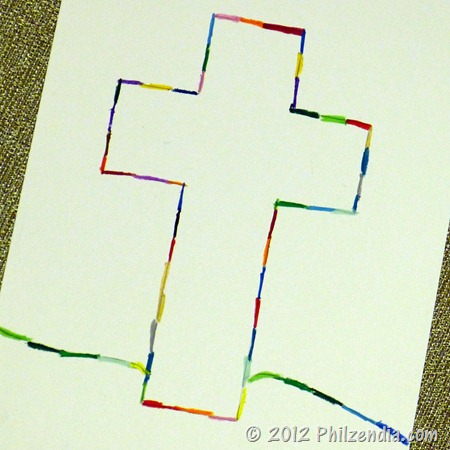 cross with oil pastels