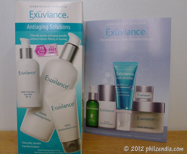This is the Exuviance skin care set I purchased along with the Exuviance brochure