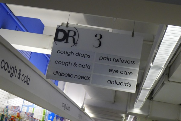 The aisle where you can find allergy relief products at Duane Reade