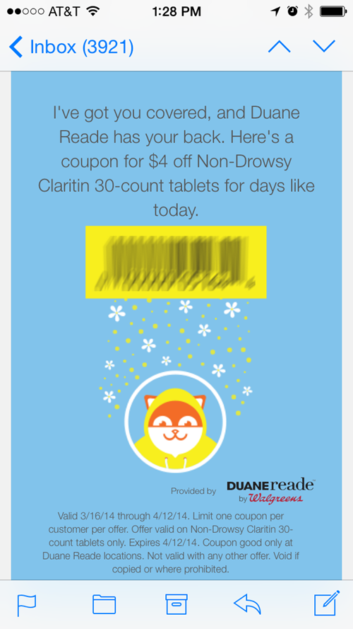 Coupon for Claritin via the Poncho app