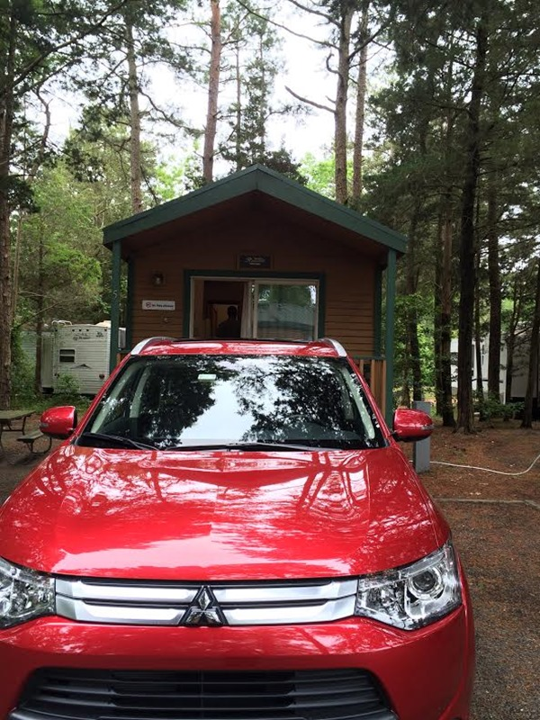 MitsubishiOutlander parked in front of our Cabin at Sea Pirate Campground