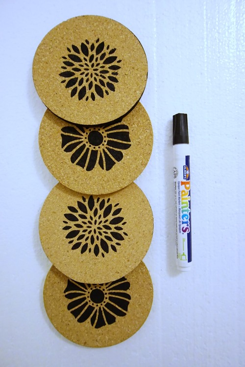 do it yourself coasters and paint marker