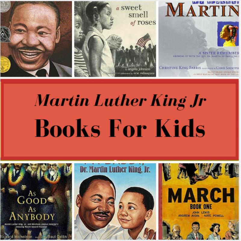 collage of MLK books for children