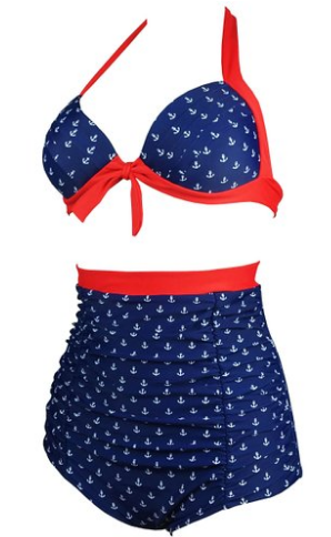 red white blue high waist bikini