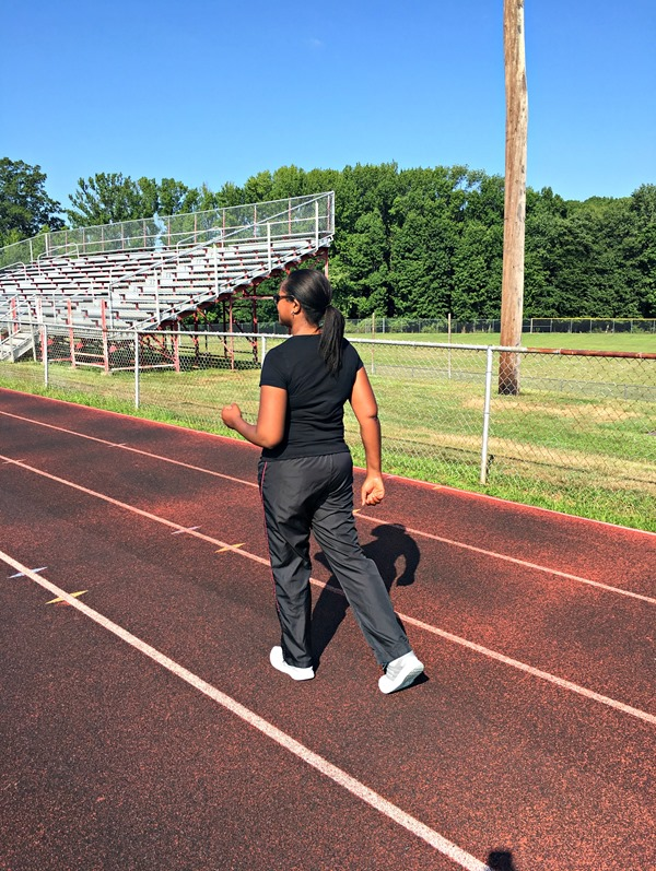 Walking around the track