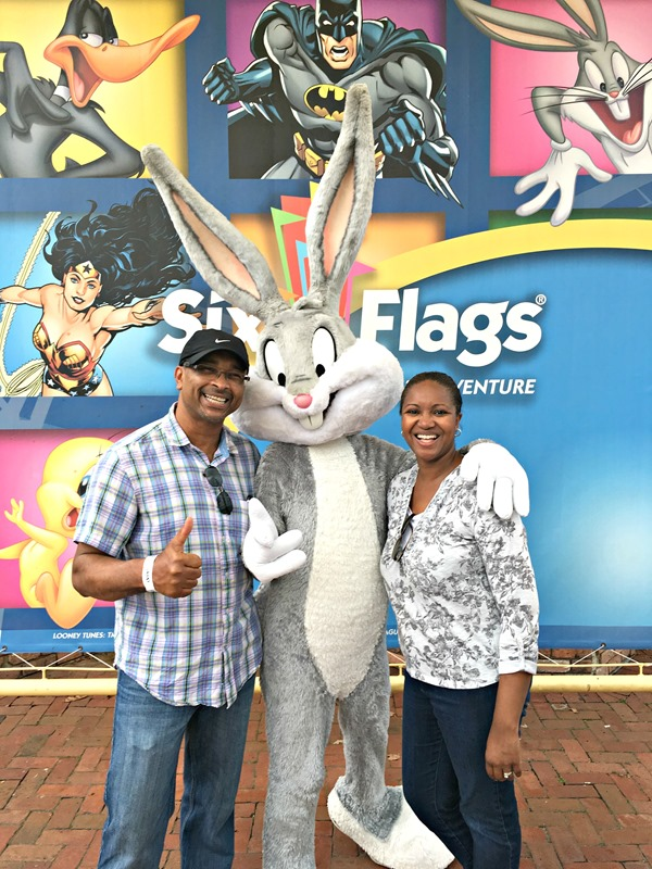 Philip and I posing with Bugs Bunny at Six Flags Great Adventure