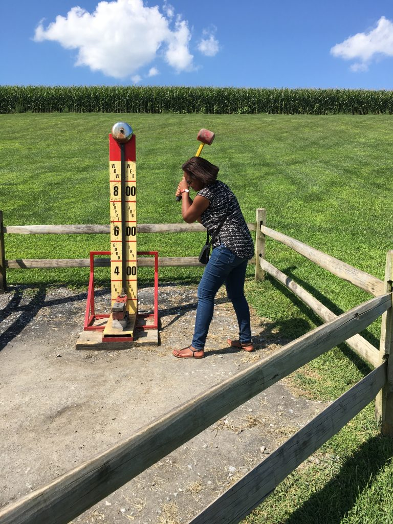 Testing my strength at Cherry Crest Farm