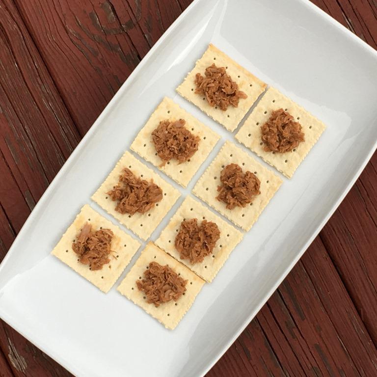 Tuna Creations® BOLD Tapatio on crackers