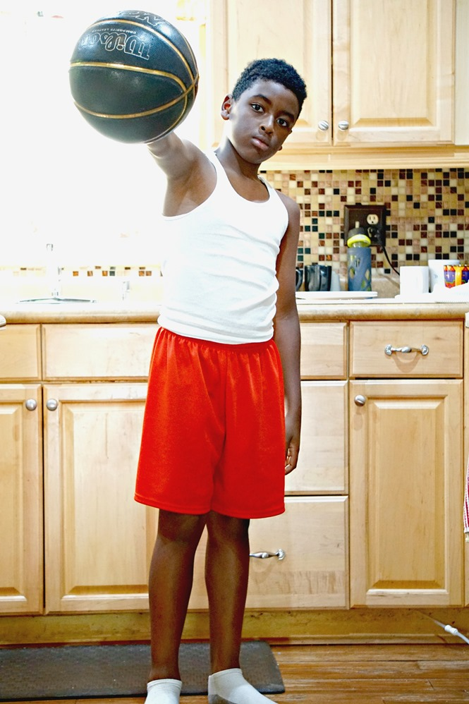playing basketball in the kitchen