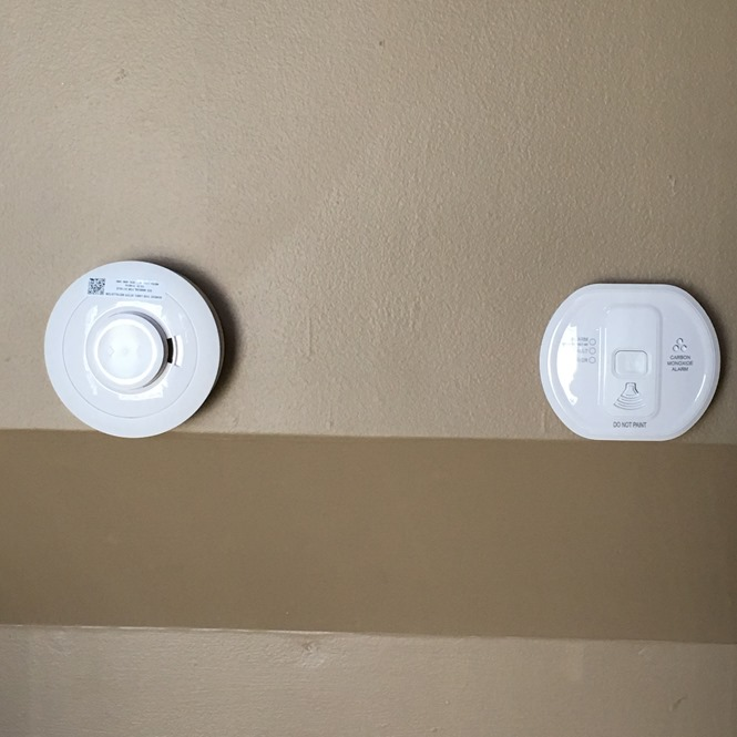 Samsung SmartThings ADT Home Safety Expansion Pack Smoke Alarm and CO Detector installed