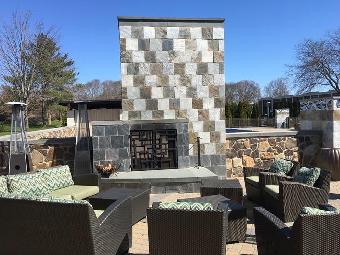 Hotel Indigo Riverhead - pool area and fireplace lounge