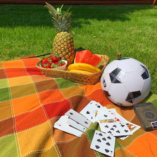 Games and fruit complement your backyard picnic