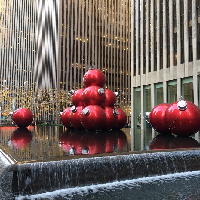 Christmas Balls Decoration at Rockeferller Center in NYC