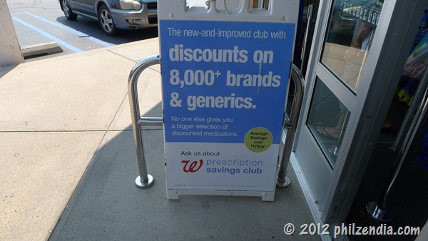Walgreens Prescription Savings Club signage