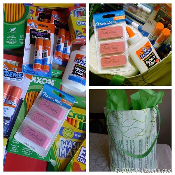 Sorting and packing school supplies for #BagItForward