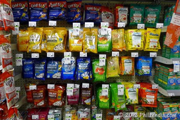 Big selection of throat lozenges at Duane Reade