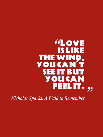 quotes - love is like the wind, you can't see it but you can feel it. by Nicholas Sparks
