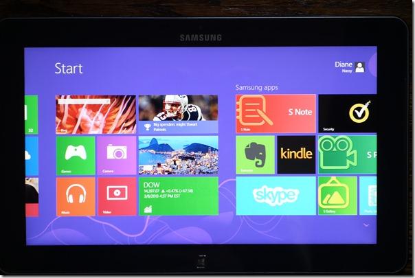 Samsung Intel tablet start screen