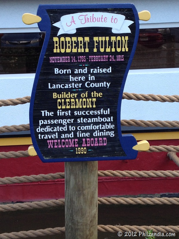 Sign seen at the fulton Steamboat Inn in Lancaster County PA announcing describing tribute to Robert Fulton
