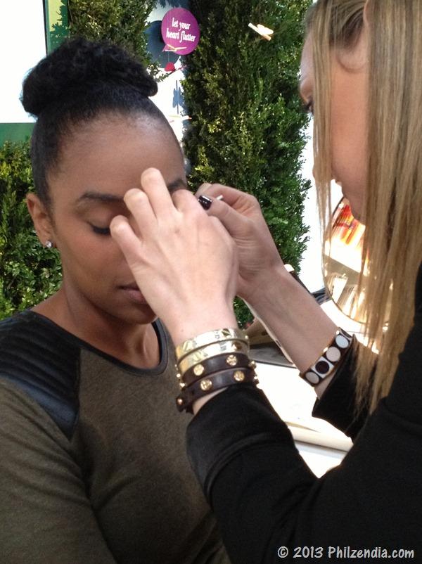 Having false lashes applied