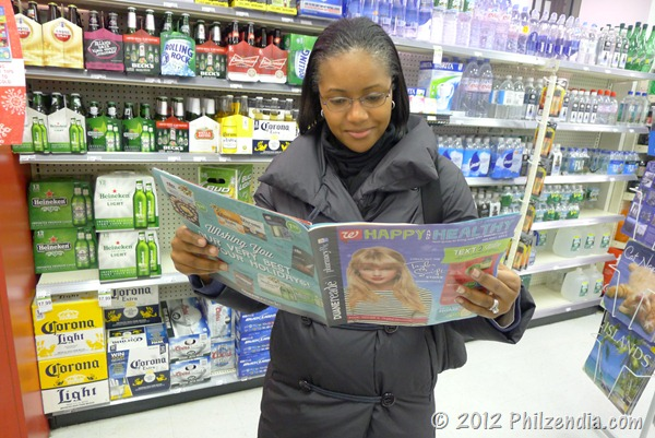 Here I am checking out the Duane Reade Happy and Healthy magazine
