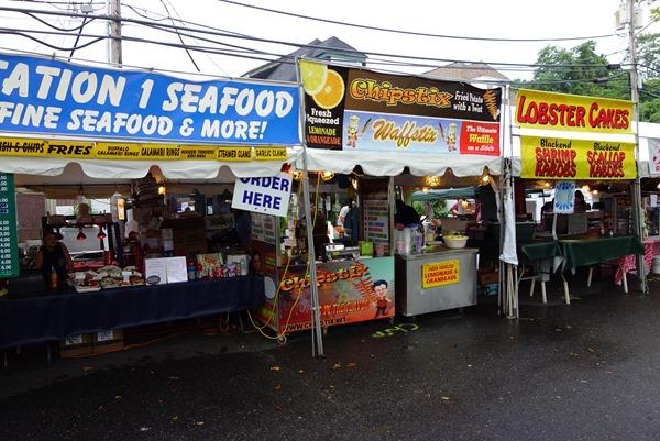 Food stands at Highlands Clam Festival in Highlands, NJ